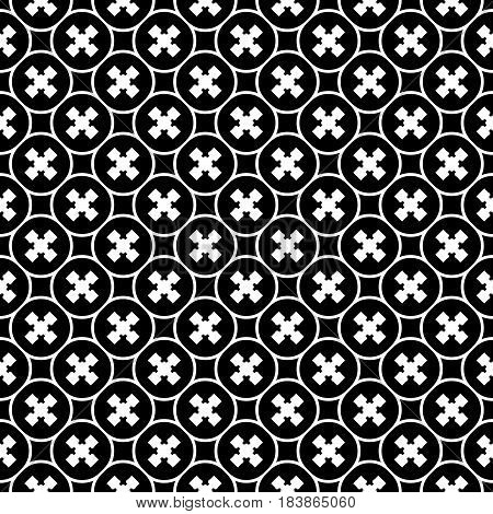Vector monochrome texture, repeat minimalist seamless pattern. Abstract dark geometric background with staggered crosses and rounded lattice. Design for prints, decor, textile, furniture, digital, web
