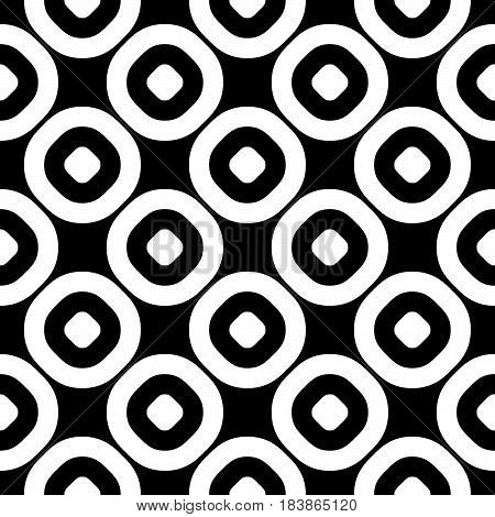 Vector seamless pattern, monochrome polka dot texture. Simple geometric background with staggered perforated circles, black & white abstract design. Element for decoration, textile, fabric, furniture