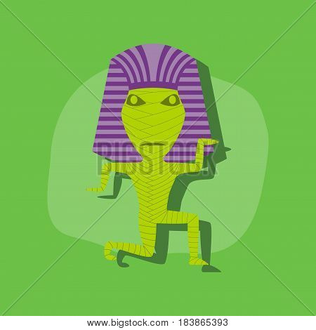 paper sticker on stylish background of mummy halloween monster