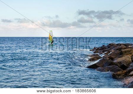 Windsurfing In The Evening Light