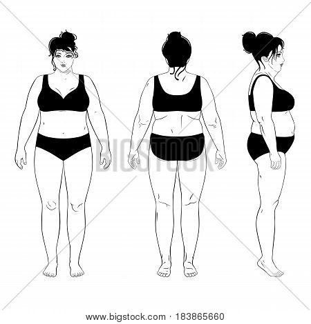 Full length front back side view of a fat standing naked woman isolated on white background. Vector illustration. You can use this image for fashion design and etc.