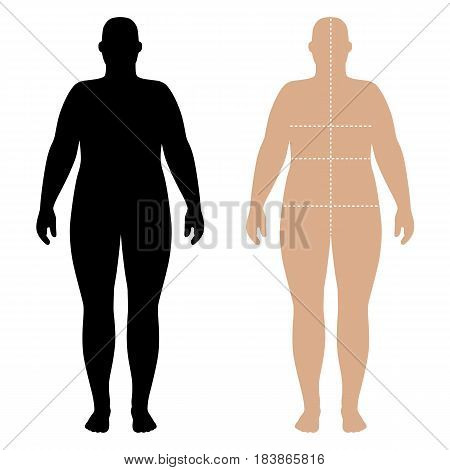 Full length front view of a fat standing naked woman outlined silhouette with marked body sizes lines isolated on white background. Vector illustration. You can use this image for fashion design and etc.