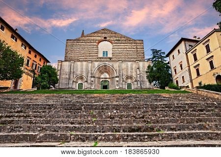 Todi, Umbria, Italy: view at sunset of the medieval catholic church of San Fortunato in the center of the city