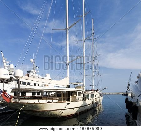 Yachts Moored In The Ligurian Port