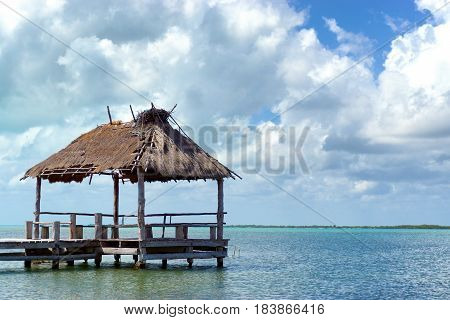 Rustic pier in Punta Allen Mexico in the Sian Kaan Biosphere Reserve near Tulum