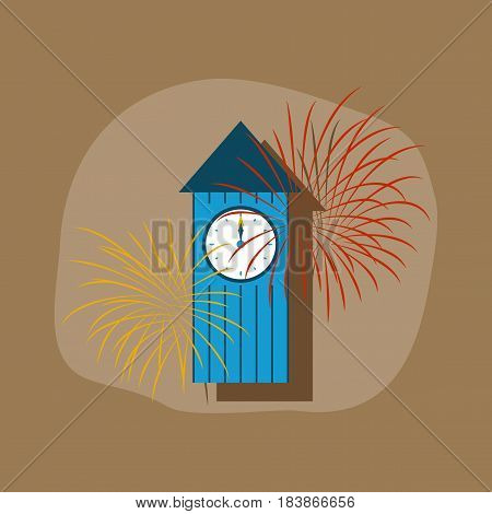 paper sticker on stylish background of Christmas clock