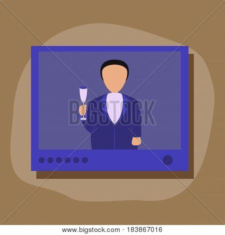 paper sticker on stylish background of President TV