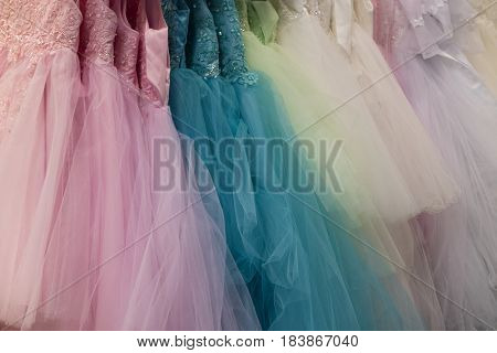 Collection of party dresses on the market