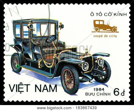 STAVROPOL RUSSIA - April 21 2017: a stamp printed by Vietnam shows old-time classical car Coope de Ville circa 1984