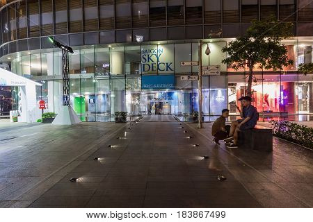 HO CHI MINH CITY VIETNAM - March 27 2917: Entrance to the buildingThe Bitexco building. Bitexco Tower is the highest building in HCMC