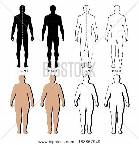 Full length front and back view of a fat standing naked woman and man outlined silhouette with marked body sizes lines isolated on white background. Vector illustration. You can use this image for fashion design and etc.