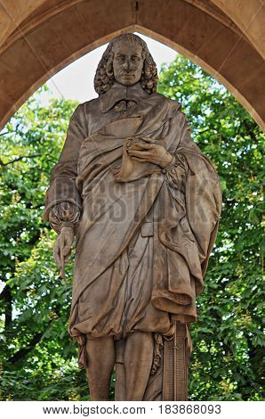Monument to Blaise Pascal under the Saint-Jacques Tower. Paris, France
