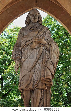 Monument to Blaise Pascal under the Saint-Jacques Tower. Paris, France