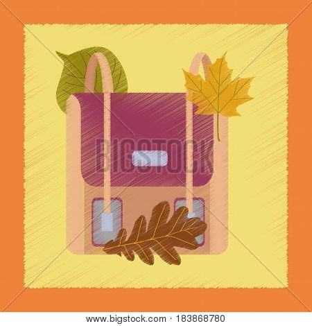 flat shading style icon leaves school bag