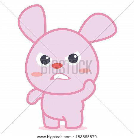 Angry rabbit character cartoon vector illustration collection