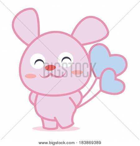 Character rabbit with balloon collection vector illustration