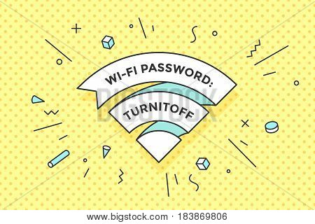 Vintage ribbon Wi-Fi sign for free wi-fi in cafe or restaurant, menu and design. Icon Wi-Fi in line style on colorful memphis style background. Design element for internet theme. Vector Illustration