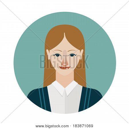 Female avatar icon in flat style. Female user icon. Cartoon woman avatar. Vector stock.