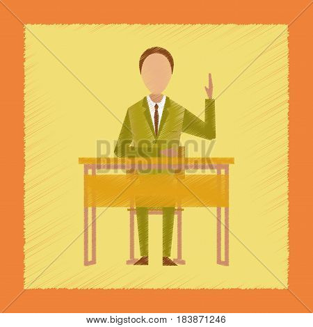 flat shading style icon school pupil at school desk