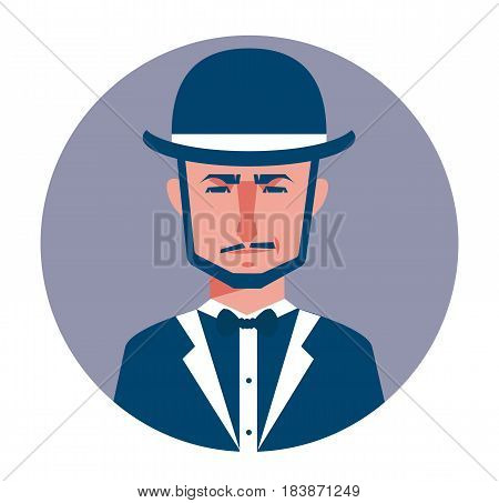 Male avatar icon in flat style. Male user icon. Cartoon man avatar. Hipster man avatar. Vector stock.