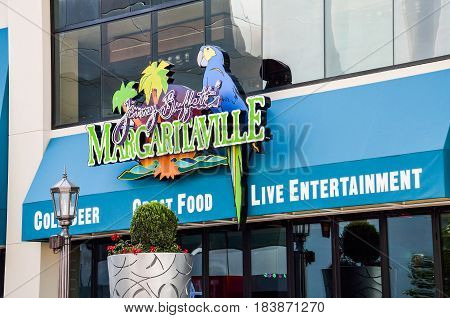 Las Vegas USA - May 7 2014: Closeup of Margaritaville restaurant and live entertainment on strip