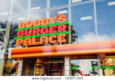 Las Vegas USA - May 7 2014: Closeup of Bobby's Burger Palace restaurant sign on strip