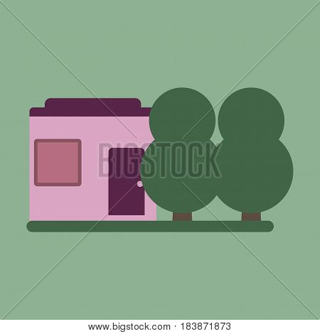 Vector illustration of flat icon house and garden