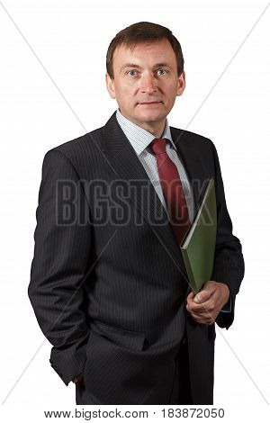 Confident Elegant Handsome Mature Businessman Wearing A Nice Suit Isolated Portrait On White