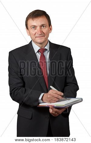 Confident Mature Businessman Holding A Marker And Writing In A Notebook Isolated Portrait