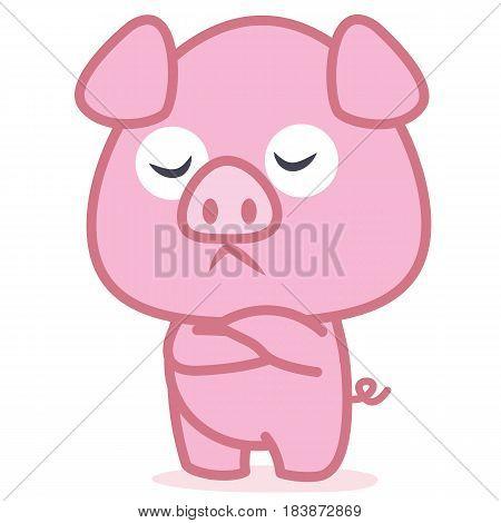 Pink pig cartoon character vector art illustration