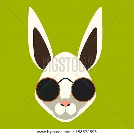 Hipster rabbit with sun glasses. Vector stock.
