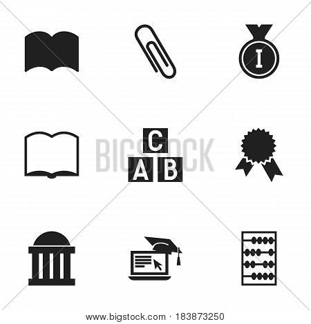 Set Of 9 Editable University Icons. Includes Symbols Such As Staple, First Place, Distance Learning And More. Can Be Used For Web, Mobile, UI And Infographic Design.