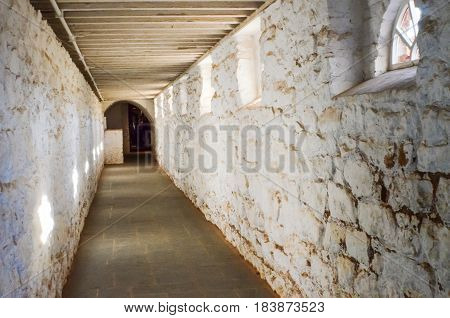 Charlottesville USA - January 20 2013: Basement wine cellar passage in Monticello Thomas Jefferson's home