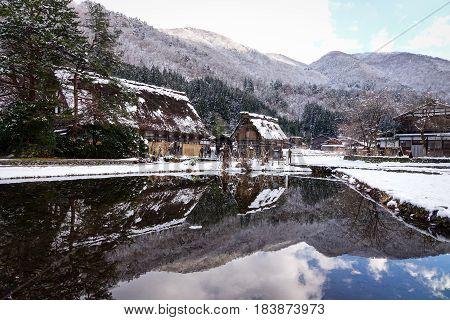Winter Scenery In Shirakawa-go, Japan
