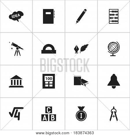 Set Of 16 Editable School Icons. Includes Symbols Such As Bell, Workbook, First Place And More. Can Be Used For Web, Mobile, UI And Infographic Design.