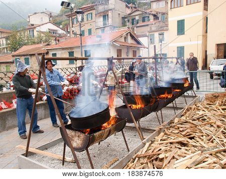 Ceriana Italy - October 25 2015: roasted chestnuts during a village festival
