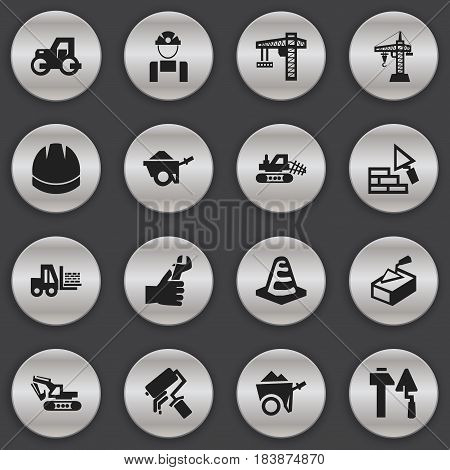 Set Of 16 Editable Structure Icons. Includes Symbols Such As Mule, Elevator, Hardhat And More. Can Be Used For Web, Mobile, UI And Infographic Design.