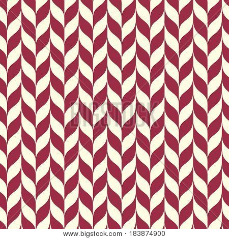 Vector geometric seamless pattern abstract endless composition created with wavy lines. Red background with undulate curves.