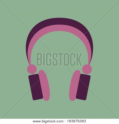 Technology gadget in flat design headphones stereo
