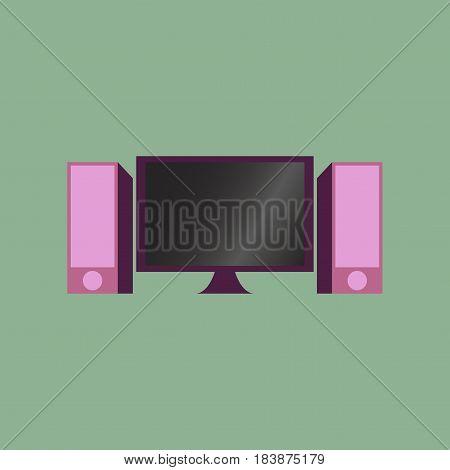 Technology gadget in flat design Computer speakers