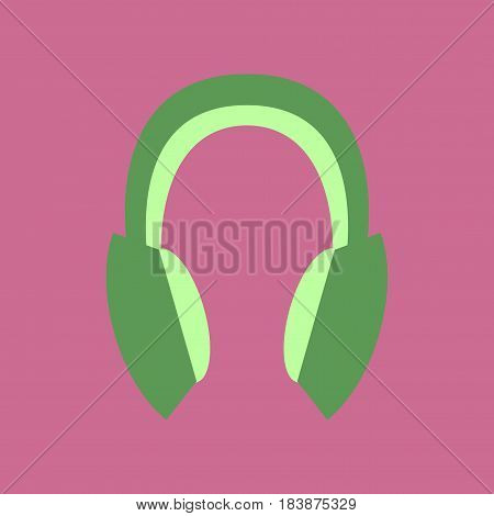 Technology gadget in flat design headphones stereo