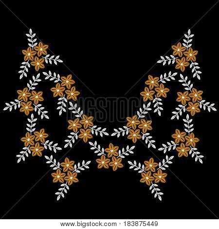 Luxury folk flower with leaf frame embroidery stitches imitation. Floral pattern for neck line on black background. Embroidery vector.