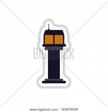 paper sticker on white background airport control tower