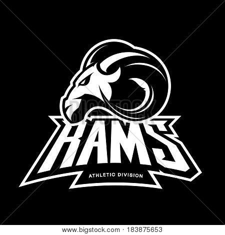 Furious ram sport club vector logo concept isolated on black background. Modern professional team badge mascot design. Premium quality wild ram animal athletic division t-shirt tee print illustration.