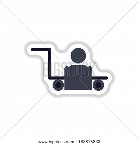 paper sticker on white background porter truck