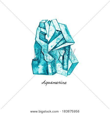 Watercolor Aquamarine. Semiprecious crystal. Hand drawn illustration on white