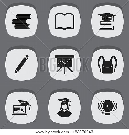 Set Of 9 Editable Education Icons. Includes Symbols Such As Education, Distance Learning, Book And More. Can Be Used For Web, Mobile, UI And Infographic Design.