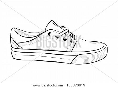 Hand drawn sketch of sport shoes, sneakers for summer. Vector stock illustration. Sport wear for men and women.