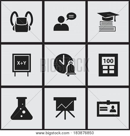 Set Of 9 Editable Education Icons. Includes Symbols Such As Chart Board, Certification, Thinking Man And More. Can Be Used For Web, Mobile, UI And Infographic Design.