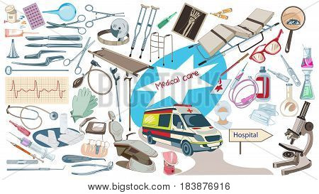 Colorful drawing medicine elements set with medical surgical dental laboratory tools and equipment isolated vector illustration